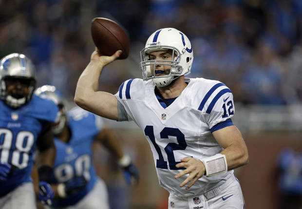Indianapolis Colts quarterback Andrew Luck (12) passes during the second quarter of an NFL football game against the Detroit Lions at Ford Field in Detroit, Sunday, Dec. 2, 2012. (AP Photo/Paul Sancya)