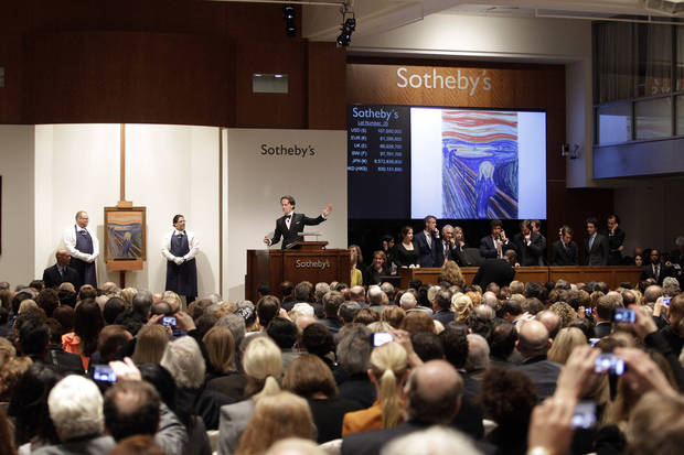 "Edvard Munch's ""The Scream"" is auctioned at Sotheby's Wednesday, May 2, 2012, in New York. The image is one of four versions created by the Norwegian expressionist painter. Three are in Norwegian museums and the one at the Sotheby's auction is the only one left in private hands. The painting is being sold by Norwegian businessman Petter Olsen, whose father was a friend and patron of the artist. The winning bid was $107 Million. The hammer price was $107 Million with the buyers premium is $119,922, 500. (AP Photo/Frank Franklin II)"