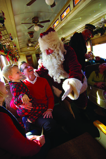 The North Pole Express offers a family-friendly ride on Grapevine's vintage railroad, complete with a visit from Santa. Photo provided. <strong></strong>