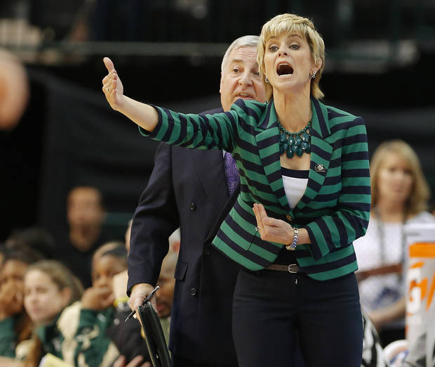 Baylor coach Kim Mulkey shouts instructions during the Big 12 tournament women's college basketball game between Oklahoma State University and Baylor at American Airlines Arena in Dallas, Sunday, March 10, 2012.  Oklahoma State lost 77-69. Photo by Bryan Terry, The Oklahoman