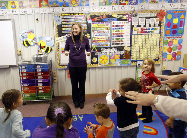 Kary Trent teaches pre-k at Ryal Public School, Wednesday, Feb. 13, 2013. Photo by Sarah Phipps, The Oklahoman