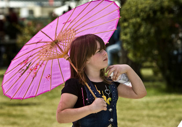 Madison McCray, 8, of Zenda, Kan. stays in the shade under her umbrella at the 2009 Oklahoma State Fair at State Fair Park on Wednesday, Sept. 23, 2009, in Oklahoma City, Okla.  Photo by Chris Landsberger, The Oklahoman.