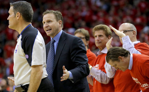 Oklahoma City coach Scott Brooks argues a call during Game 4 in the first round of the NBA playoffs between the Oklahoma City Thunder and the Houston Rockets at the Toyota Center in Houston, Texas,Sunday, April 29, 2013. Oklahoma City lost 105-103. Photo by Bryan Terry, The Oklahoman