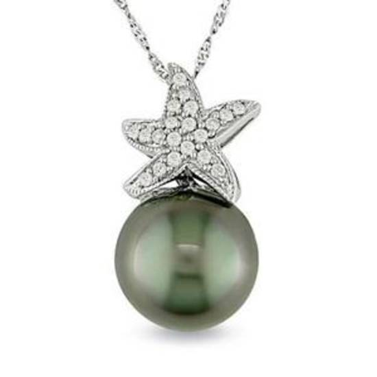 Tahitian black cultured pearl and diamond starfish pendant in 14K white gold, $499, online only.