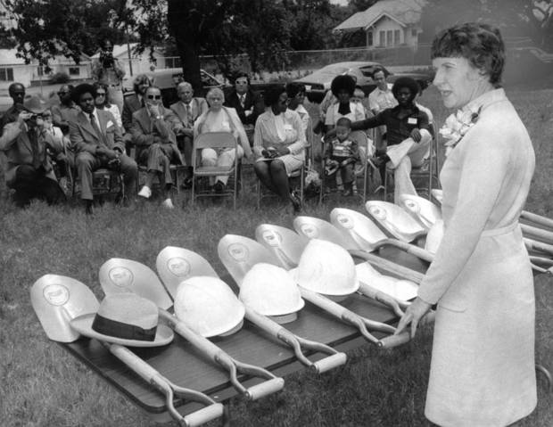 "'GROUNDBREAKING CEREMONIES for the first unit of single-family public housing to go into the John F. Kennedy Urban Renewal Area featured Mayor Patience Latting as principal speaker.  The ceremonies, which also featured the Rev. Goree James, Ward 7 councilman, were held Saturday at the house's future site, NE 12 and Katie."" Staff photo by Roger Artman taken 5/31/74; photo ran in the 6/2/74 Daily Oklahoman."