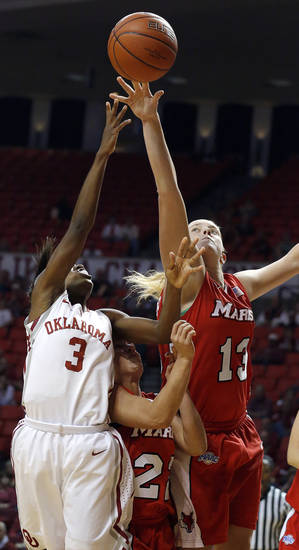 Oklahoma's Aaryn Ellenberg (3) shoots as Marist's Kristine Best (22) and Emma O'Connor (13) defend during the women's college basketball game between the University of Oklahoma and Marist at Lloyd Noble Center in Norman, Okla.,  Sunday,Dec. 2, 2012. Photo by Sarah Phipps, The Oklahoman