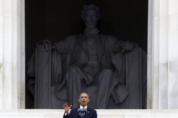 President Barack Obama speaks at the 50th Anniversary of the March on Washington where Martin Luther King Jr., spoke, Wednesday, Aug. 28, 2013, at the Lincoln Memorial in Washington. (AP Photo/Charles Dharapak)