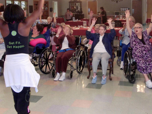 Tori Collier leads a Zumba class at Grace Living Center in Norman. Her visits have become popular with residents looking for a way to exercise. Photo provided by Grace Living Center