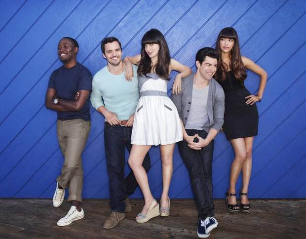 "From left, Lamorne Morris, Jake Johnson, Zooey Deschanel, Max Greenfield and Hannah Simone of ""New Girl"" - Fox Photo"