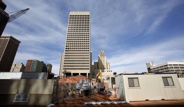 Construction is shown in front of the SandRidge Energy Building on Feb. 8 in Oklahoma City.  Photo By Steve Gooch, The Oklahoman