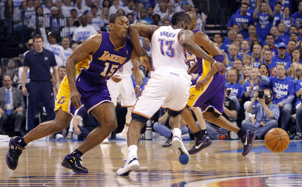 Oklahoma City's James Harden elbows Los Angeles' Metta World Peace during Game 2 in the second round of the NBA playoffs between the Oklahoma City Thunder and the L.A. Lakers at Chesapeake Energy Arena on Wednesday,  May 16, 2012, in Oklahoma City, Oklahoma. Photo by Chris Landsberger, The Oklahoman