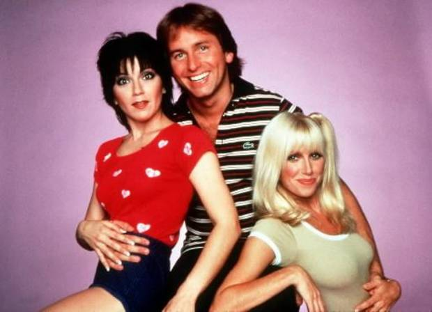 The cast of &quot;Three's Company&quot;  (from right to left) Joyce DeWitt, John Ritter and Suzanne Sommers