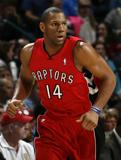 Toronto's Joey Graham runs down the court during the NBA basketball game between the Toronto Raptors and the Oklahoma City Thunder at the Ford Center in Oklahoma City, Friday, Dec. 19, 2008. BY NATE BILLINGS, THE OKLAHOMAN