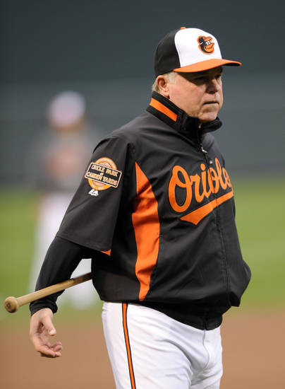 Baltimore Orioles manager Buck Showalter takes part in batting practice before Game 1 of the American League division baseball series against the New York Yankees on Sunday, Oct. 7, 2012, in Baltimore. (AP Photo/Nick Wass)