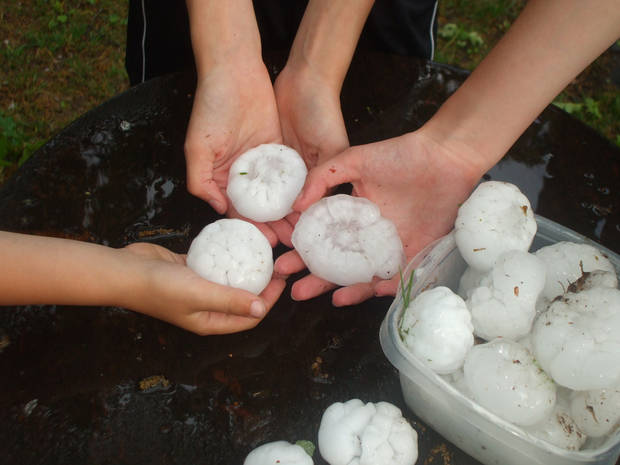 Large hail found in Midwest City by Ben, Emily, and Catherine Roberts. 5-1-08<br/><b>Community Photo By:</b> Gabrielle Roberts<br/><b>Submitted By:</b> gabrielle, Midwest City