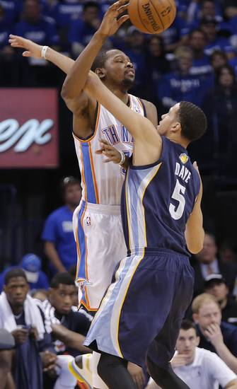Memphis' Austin Daye (5) fouls Oklahoma City's Kevin Durant (35) during the second round NBA playoff basketball game between the Oklahoma City Thunder and the Memphis Grizzlies at Chesapeake Energy Arena in Oklahoma City, Sunday, May 5, 2013. Photo by Chris Landsberger, The Oklahoman
