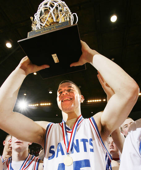 Oklahoma Christian School's Blake Griffin hoists the gold ball at the Class 2A Boys Championship at the State Fairgrounds Arena, Saturday, March 10, 2007. By James Plumlee, The Oklahoman.