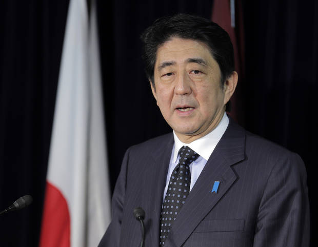 Japan's largest opposition Liberal Democratic Party leader Shinzo Abe speaks during a press conference in Tokyo, Friday, Nov. 16, 2012 after the lower house of parliament was dissolved. Prime Minister Yoshihiko Noda dissolved the lower house of parliament Friday, paving the way for elections in which his ruling party will likely give way to a weak coalition government divided over how to solve Japan's myriad problems. Abe, who had a one-year stint as prime minister in 2006 and 2007, now has a chance to return if the LDP wins the most seats in elections expected in mid December. (AP Photo/Koji Sasahara)