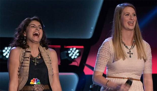 "Tulsa's Alaska Rayne Holloway, left, and Madi Metcalf appear in a promo for NBC's ""The Voice"" during their audition."