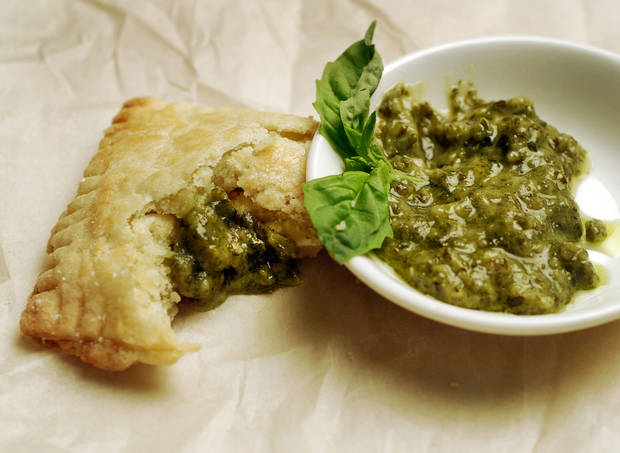 Put a homemade spin on pop-tarts while satisfying our grown-up palates. Here, pesto with Ricotta pop-tart. (Mark DuFrene/Contra Costa Times/MCT)