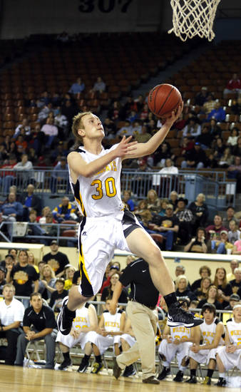 Arnett's Nicolas Smith shoots a lay up during the Class B Boys semifinal game of the state high school basketball tournament between Big Pasture and Arnett at the State Fair Arena., Friday, March 1, 2013. Photo by Sarah Phipps, The Oklahoman
