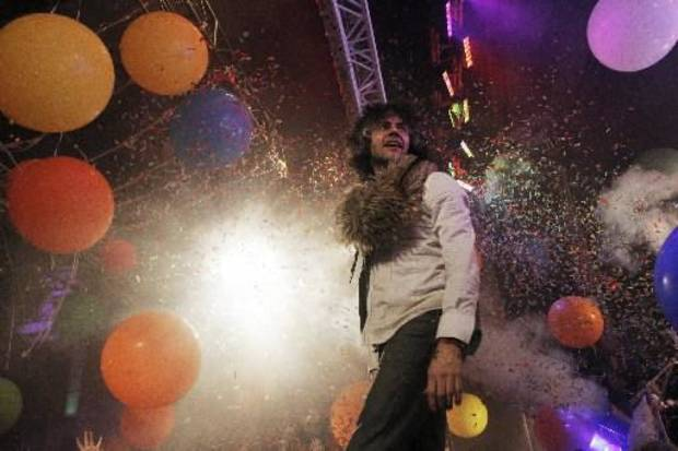 The Flaming Lips frontman Wayne Coyne performs at the New Year's Eve Freakout #5 at the Coca Cola Bricktown Events Center in Oklahoma City. (Garett Fisbeck, The Oklahoman)