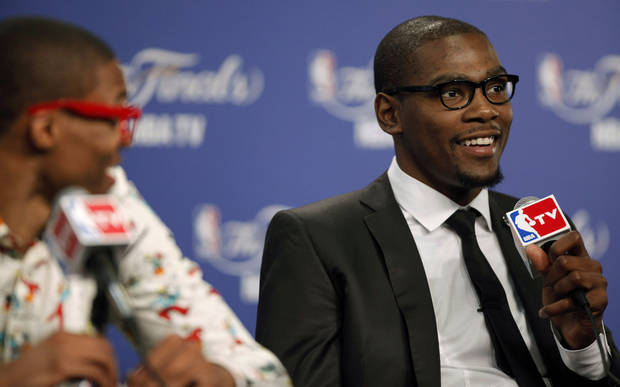 Oklahoma City's Kevin Durant smiles during a press conference after Game 1 of the NBA Finals between the Oklahoma City Thunder and the Miami Heat at Chesapeake Energy Arena in Oklahoma City, Tuesday, June 12, 2012. Photo by Bryan Terry, The Oklahoman