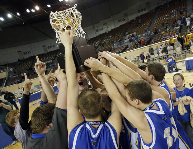 Glencoe celebrates the Class A boys state championship between Glencoe and Weleetka at the State Fair Arena., Friday, March 1, 2013. Photo by Sarah Phipps, The Oklahoman