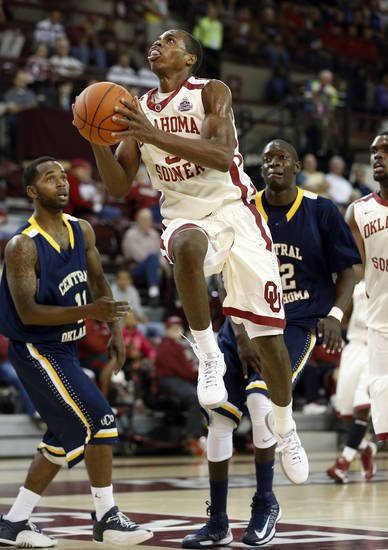 Buddy Hield (3) shoots in the second half as the University of Oklahoma (OU) Sooners men's basketball team defeats  the Central Oklahoma Bronchos 94-66 at McCasland Field House on Wednesday, Nov. 7, 2012  in Norman, Okla. Photo by Steve Sisney, The Oklahoman