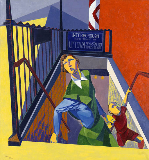 �Subway Exit,� a 1946 oil on canvas by O. Louis  Guglielmi.
