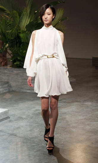 The Halston spring 2011 collection is modeled Monday, Sept. 13, 2010 during Fashion Week in New York. (AP Photo/Stephen Chernin) ORG XMIT: NYSC102