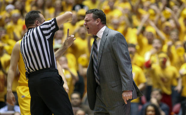 Kansas head coach Bill Self, right, receives a technical foul early in the first half of an NCAA college basketball game against Iowa State, Monday, Feb. 25, 2013, in Ames, Iowa. (AP Photo/Justin Hayworth)