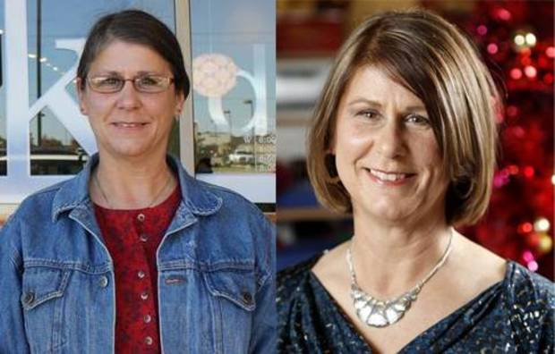 Lynn Bunting before and after her makeover at Kohl's in Edmond. Photos by Heather Warlick and Bryan Terry