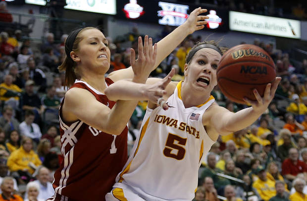 Oklahoma's Nicole Kornet (1) goes for the ball beside Iowa State's Hallie Christofferson (5) during the Big 12 tournament women's college basketball game between the University of Oklahoma and Iowa State University at American Airlines Arena in Dallas, Sunday, March 10, 2012.  Photo by Bryan Terry, The Oklahoman