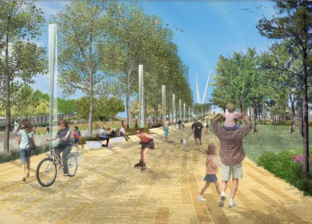 A prominade proposed as part of Core to Shore park south of downtown is shown in this rendering. &lt;strong&gt;Hargreaves Associates&lt;/strong&gt;