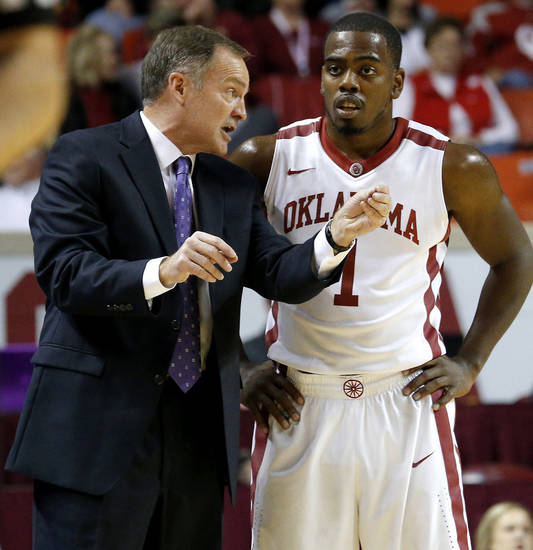 Oklahoma coach Lon Kruger talks with Sam Grooms (1) during a NCAA college basketball game between the University of Oklahoma (OU) and Ohio at the Lloyd Noble Center in Norman, Saturday, Dec. 29, 2012. Oklahoma won 74-63. Photo by Bryan Terry, The Oklahoman