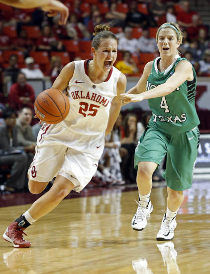 Oklahoma's Whitney Hand (25) drives past North Texas' Laura McCoy (4) as the University of Oklahoma Sooners (OU) play the North Texas Mean Green in NCAA, women's college basketball at The Lloyd Noble Center on Thursday, Dec. 6, 2012  in Norman, Okla.  (Hand was not injured on this play.)  Photo by Steve Sisney, The Oklahoman