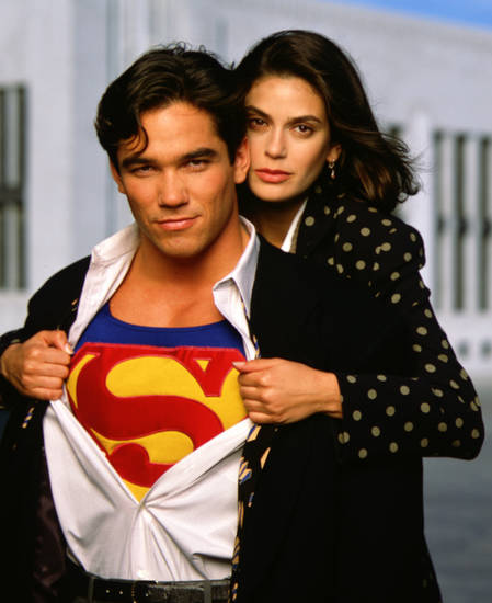 "Dean Cain and Teri Hatcher as Clark Kent and Lois Lane in ""Lois and Clark: The New Adventures of Superman."""