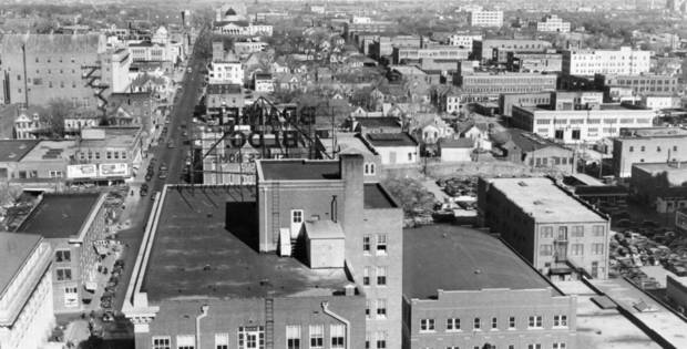 OKLAHOMA CITY / SKY LINE / OKLAHOMA / 1927:  Looking north up Robinson Avenue from top of Petroleum building.  Staff photo by Alphia O. Hart.  Photo dated 12/09/1938 and published 03/05/1939 in The Daily Oklahoman.