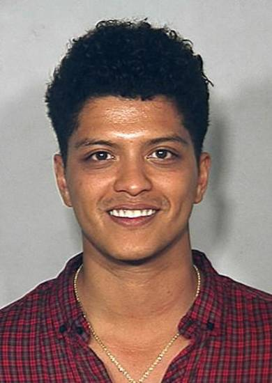 Bruno Mars poses for a mug shot. Photo from Clark County Detention Center in Las Vegas.