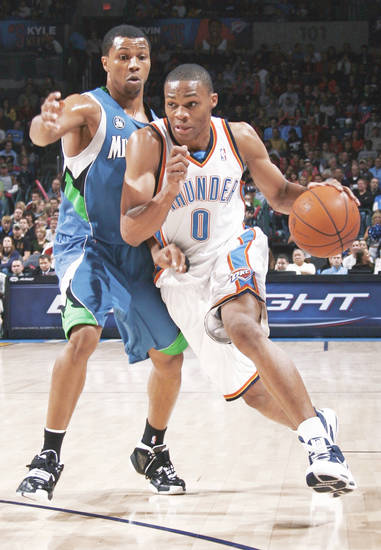Oklahoma City's Russell Westbrook, right, scored 12 points against the Grizzlies. PHOTO BY NATE BILLINGS, THE OKLAHOMAN
