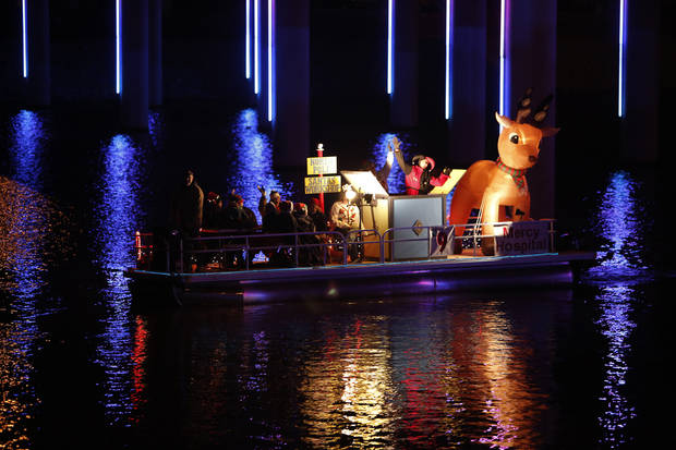 A boat participates during the Oklahoma River Boat Parade in Oklahoma City, Friday, Nov. 23, 2012.  Photo by Garett Fisbeck, The Oklahoman