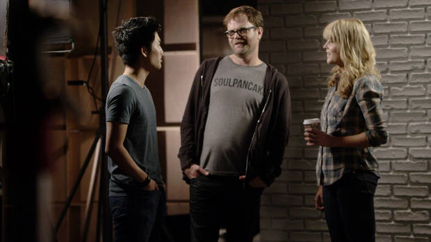 From left, Ryan Higa, Rainn Wilson and Grace Helbig are shown collaborating on a Comedy Week shoot. - Provided Photo