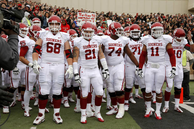 Oklahoma gets ready to take the field before a college football game between the University of Oklahoma (OU) and Texas Tech University at Jones AT&T Stadium in Lubbock, Texas, Saturday, Oct. 6, 2012. Photo by Bryan Terry, The Oklahoman