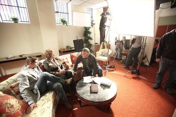 "Actors Mike Vogel and Marilyn McIntyre talk with director Paul Brown on the set of ""Heaven's Rain"" at First Baptist Church, 1201 N Robinson.  PHOTO BY Steve Gooch, The Oklahoman"