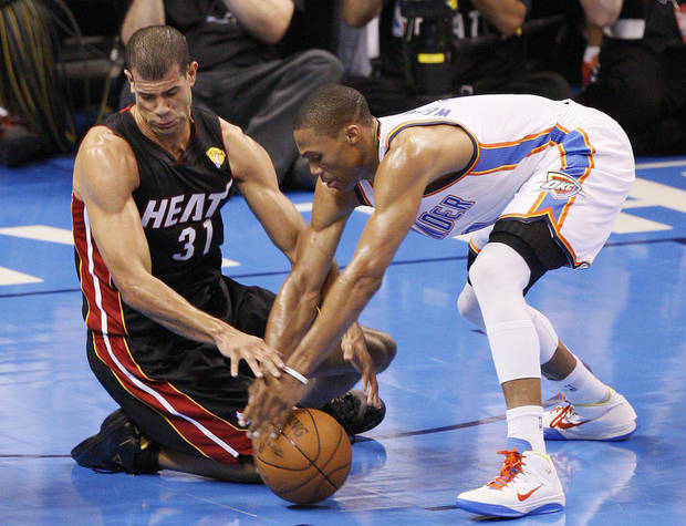 Miami's Shane Battier (31) and Oklahoma City's Russell Westbrook (0) go for a loose ball during Game 2 of the NBA Finals between the Oklahoma City Thunder and the Miami Heat at Chesapeake Energy Arena in Oklahoma City, Thursday, June 14, 2012. Photo by Nate Billings, The Oklahoman