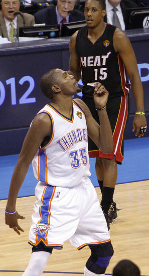 Oklahoma City's Kevin Durant (35) reacts after his fifth foul during Game 2 of the NBA Finals between the Oklahoma City Thunder and the Miami Heat at Chesapeake Energy Arena in Oklahoma City, Thursday, June 14, 2012. Photo by Chris Landsberger, The Oklahoman