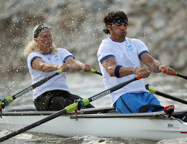 Paralympic Rower Tony Davis and rowing partner Jacqui Kapinowski practice on the Oklahoma River in Oklahoma City on Tuesday, June 14, 2011. Photo by John Clanton, The Oklahoman