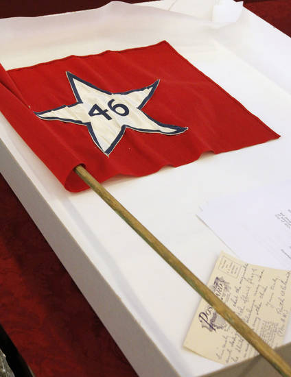 First flag of Oklahoma found in the Century Chest at First Lutheran Church in Oklahoma City Monday, April 22, 2013. The Century Chest is a time capsule put together and buried April 22, 1913 by the church. Photo by Paul B. Southerland, The Oklahoman
