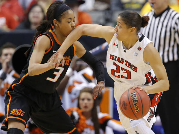 Oklahoma State's Tiffany Bias (3) gets hit by Texas Tech's Monique Smalls (23) during the Big 12 tournament women's college basketball game between Oklahoma State University and Texas Tech University at American Airlines Arena in Dallas, Saturday, March 9, 2012. Oklahoma State won 59-54.  Photo by Bryan Terry, The Oklahoman